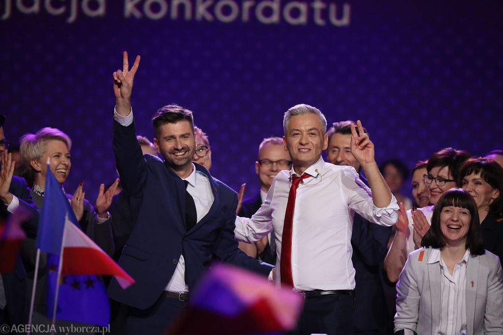 Krzysztof Śmiszek i Robert Biedroń podczas konwencji partii Wiosna. Warszawa, 3 lutego 2019