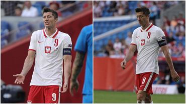 Robert Lewandowski w trakcie meczu Polska - Islandia