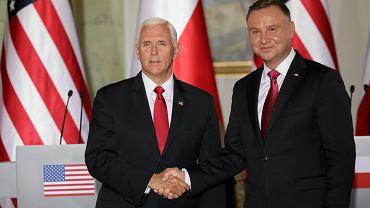 2.09.2019, Warszawa, wiceprezydent Stanów Zjednoczonych Mike Pence i prezydent Polski Andrzej Duda