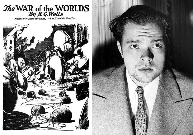 Po lewej: oryginalna okładka wydania 'Wojny światów' (ilustr. Frank R. Paul / Wikimedia Commons / public domain); po prawej: Orson Welles (fot. autor nieznany / Wikimedia Commons / public domain)