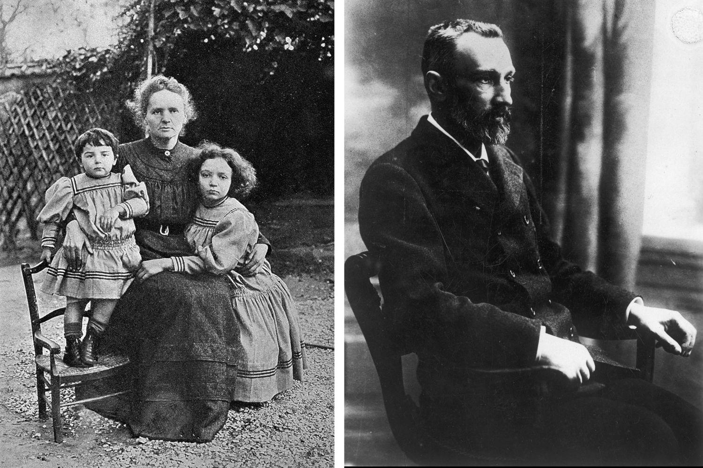 Maria Skłodowska-Curie z Ewą (z lewej) i Ireną (z prawej) i Piotr Curie (fot. domena publiczna)