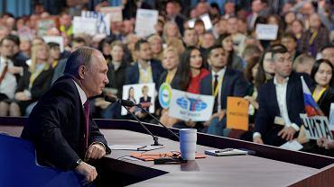 Prezydent Władimir Putin podczas konferencji prasowej podsumowującej rok 2018, Moskwa 20.12.2018.
