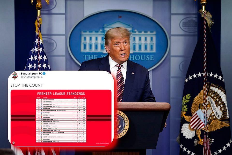 Donald Trump zaapelował o zaprzestanie liczenia głosów. Klub z Premier League zareagował na jego słowa