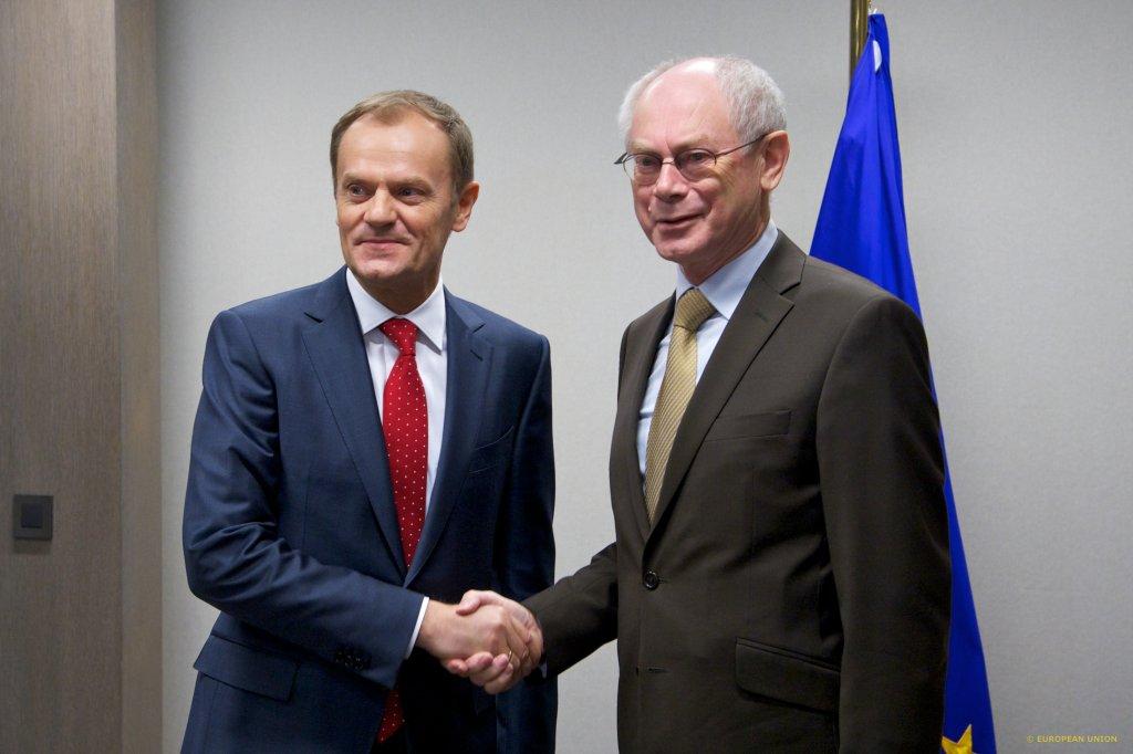 Nowy przewodniczący Rady Europejskiej Donald Tusk i odchodzący przewodniczący Herman van Rompuy