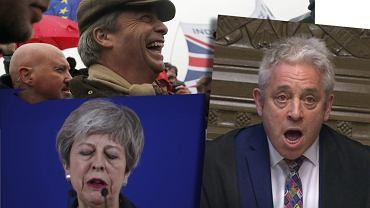 Twarze brexitu: Nigel Farage, Theresa May, John Bercow