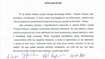 Oświadczenie podpisane przez piłkarzy Stomilu Olsztyn