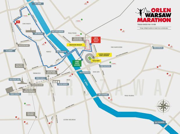 Trasa biegu na 10 km, który odbędzie się 21 kwietnia przy okazji Warsaw Orlen Marathon