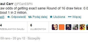 Screen z wpisem na twitterze statystyka ESPN Paula Carra o procentowych szansach na powtórzenie się wyników próbnego i oficjalnego losowania
