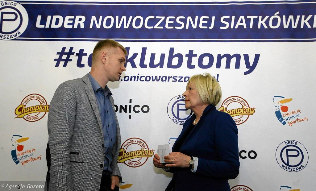 Jolanta Dolecka, prezes klubu Onico Warszawa i Paweł Zagumny, dyrektor sportowy