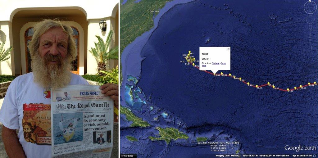 Aleksander Doba niedługo rusza z Bermudów, by zakończyć swój projekt. Na zdjęciu - po lewej Doba trzyma bermudzką The Royal Gazzete. Po prawej jego trasa i miejsce, w które wróci