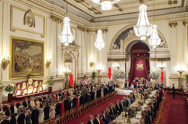 Od lewej: Rose Hanbury, książę William i księżna Kate na bankiecie u królowej