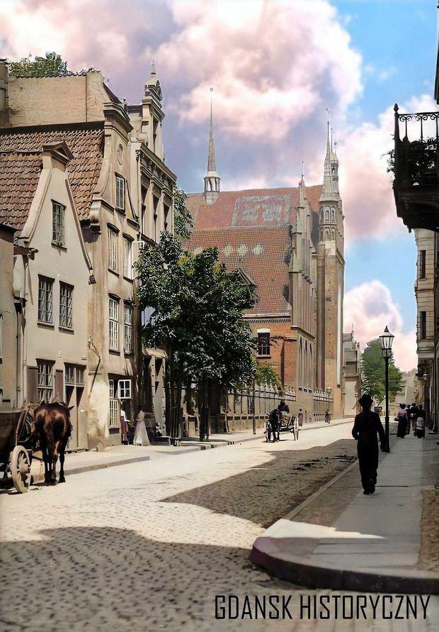 Zdjęcie numer 8 w galerii - Zdjęcia przedwojennego i powojennego Gdańska w kolorze. Zieleń drzew i czerwone cegły Bazyliki Mariackiej