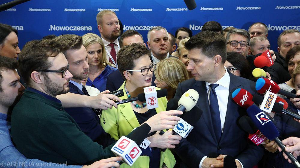 Katarzyna Lubnauer i Ryszard Petru na konferencji prasowej