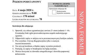 Matura 2020. Arkusz z języka polskiego poziom podstawowy