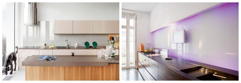 Z lewej: Szklany panel nad blatem, fronty szafek na wysoki połysk i chromowany, odbijający światło okap - niezawodny sposób na nowoczesną kuchnię. Z prawej: Zamiast kafelków nad kuchennym blatem - szklany panel. Tu dodatkowo został podświetlony kolorowymi LED-ami.