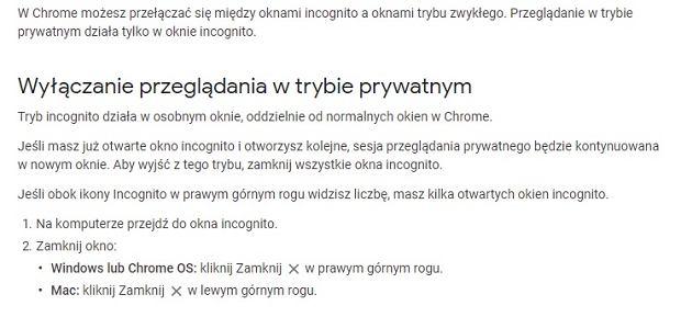 Otwieranie i zamykanie Incognito w Google Chrome