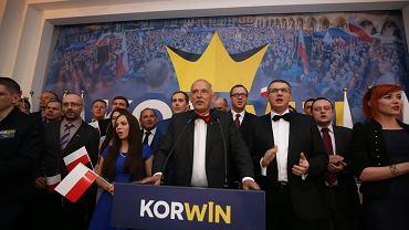 Wieczór wyborczy w sztabie Janusza Korwin-Mikkego