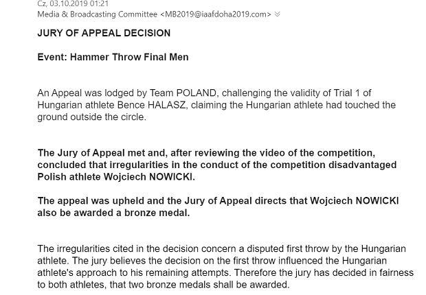 Oficjalna decyzja o przyznaniu brązowego medalu MŚ w Dausze Wojciechowi Nowickiemu