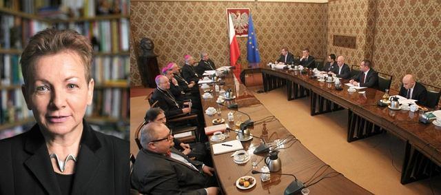 Monika Płatek, obok: posiedzenie rządu i episkopatu