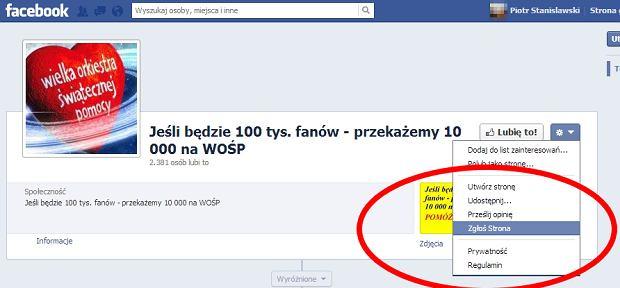 Jak zgłosić do Facebooka stronę oszustów?