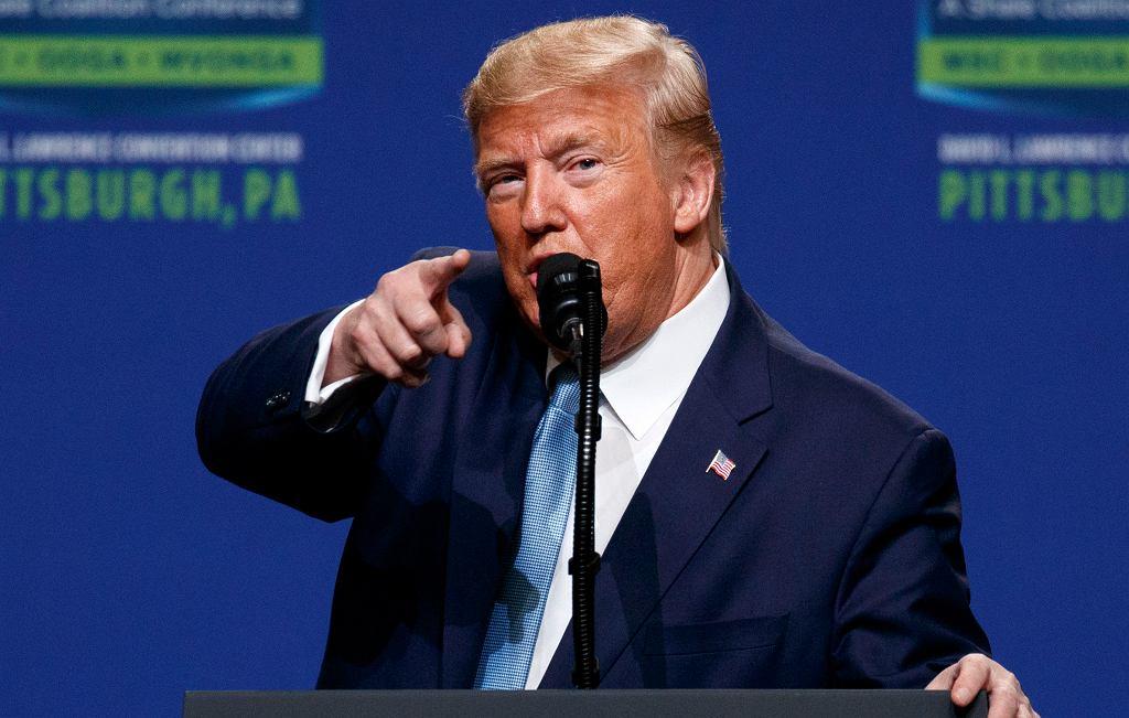 Prezydent Donald Trump podczas wiecu w Pittsburgh w Pensylwanii.