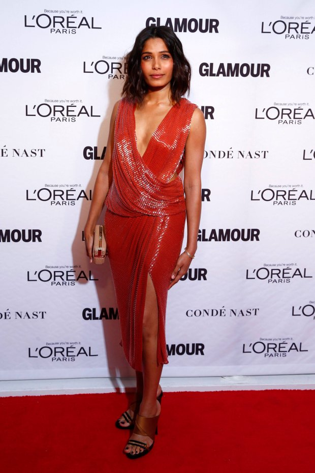 Actress Freida Pinto arrives for Glamour Magazines annual Women of the Year award ceremony in New York November 10, 2014.  REUTERS/Lucas Jackson (UNITED STATES - Tags: ENTERTAINMENT)
