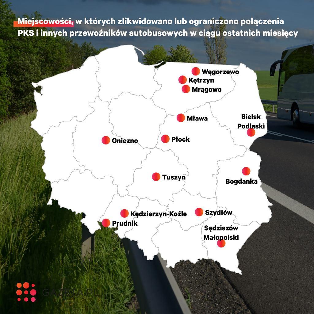 Miejscowości, w których transport publiczny zlikwidowano lub ograniczono