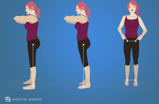 Zobacz, jak korygować postawę, by była ona prawidłowa. Czasem kosmetyczna zmiana już zapobiega problemom mięśniowym.  Stań bokiem do lustra. Wyobraź sobie pionową linię biegnącą w dół od środka twojego biodra. Żeby skorygować ustawienia miednicy, przesuń biodra do tyłu w taki sposób, by znalazły się dokładnie nad kolanami i kostkami. Uwaga, stój w rozkroku (stopy na szerokość miednicy. Większość ćwiczeń polecanych przez Katy Bowman, autorkę bestsellera 'Distasis Recti' (tytuł polski: 'Rozejście mięśnia prostego brzucha. Holistyczne rozwiązanie dla osłabionych mięśni brzucha'), jest bardzo prosta. Znaczenie ma jakość wykonania, dobór odpowiedniego zestawu, intensywność treningu, etc., dlatego najlepiej wystartować z doświadczonym fizjoterapeutą.