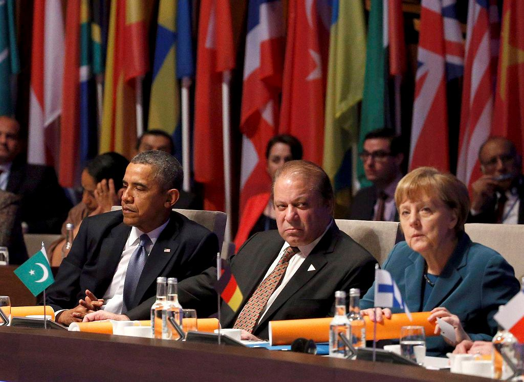 Shinzo Abe, premier Japonii, Barack Obama, prezydent USA, Nawaz Sharif, premier Pakistanu oraz Angela Merkel, kanclerz Niemiec podczas Szczytu Bezpieczeństwa Nuklearnego