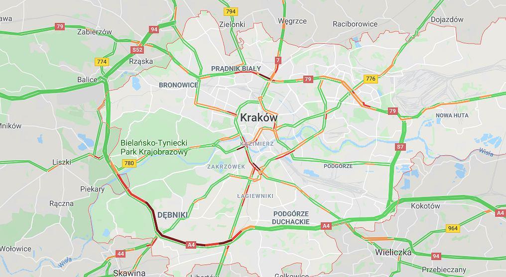 Utrudnienia po wypadku na A4 w Krakowie.