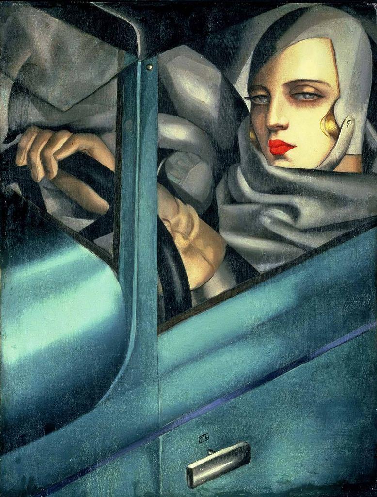 Tamara Łempicka autoportret w zielonym Bugatti, 1925 r.