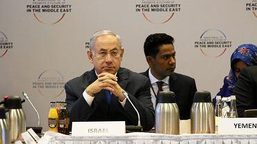 Premier Izraela Binjamin Netanjahu podczas konferencji bliskowschodniej na Stadionie Narodowym w Warszawie, 14 lutego 2019