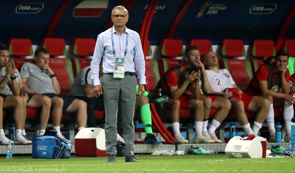 Adam Nawałka podczas meczu rundy grupowej Polska - Kolumbia