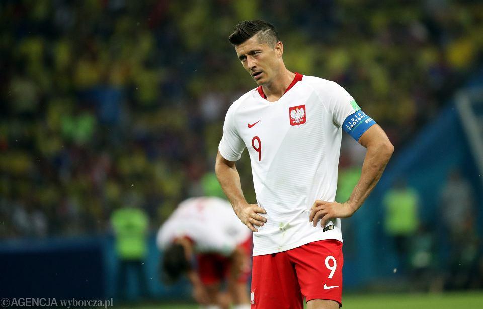 Robert Lewandowski podczas meczu rundy grupowej Polska - Kolumbia