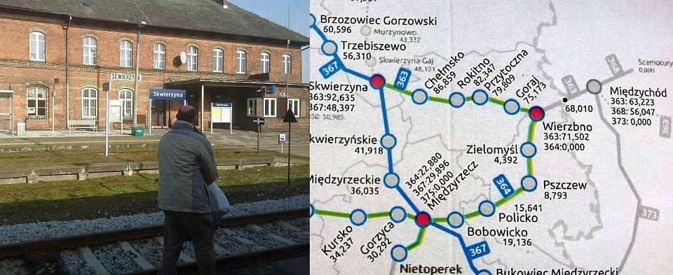 Stacja Skwierzyna i mapa połączeń kolejowych na północnym pograniczu lubusko-wielkopolskim