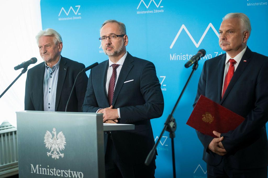 3.09.2020, Warszawa, konferencja w Ministerstwie Zdrowia, na zdjęciu od lewej: Andrzej Horban, Adam Niedzielski i Waldemar Kraska