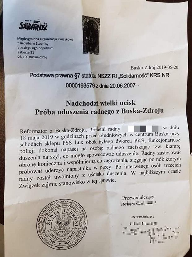 Pismo ws. ataku w Busku-Zdroju