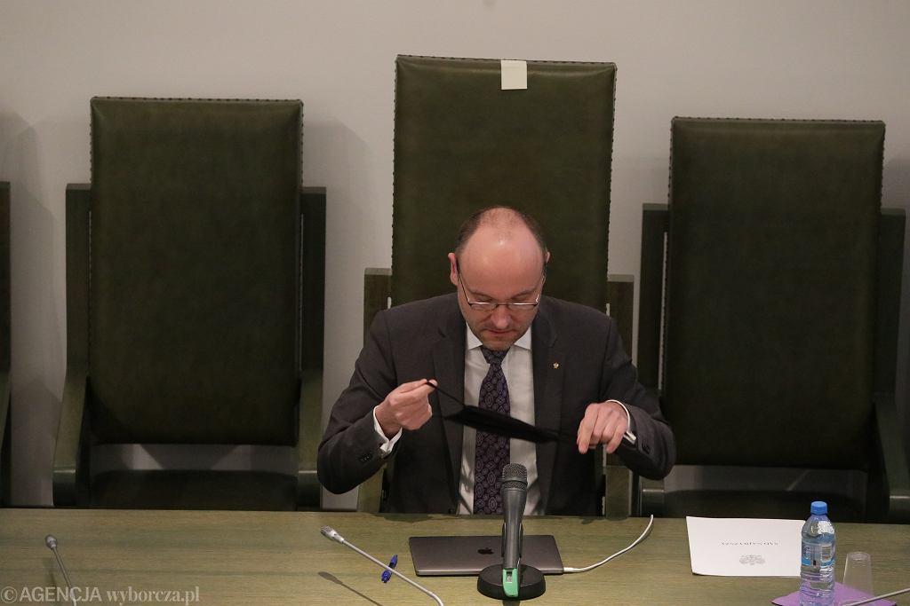 P.o. prezesa SN Kamil Zaradkiewicz podczas Zgromadzenia Sędziów Sądu Najwyższego. Warszawa, 12 maja 2020