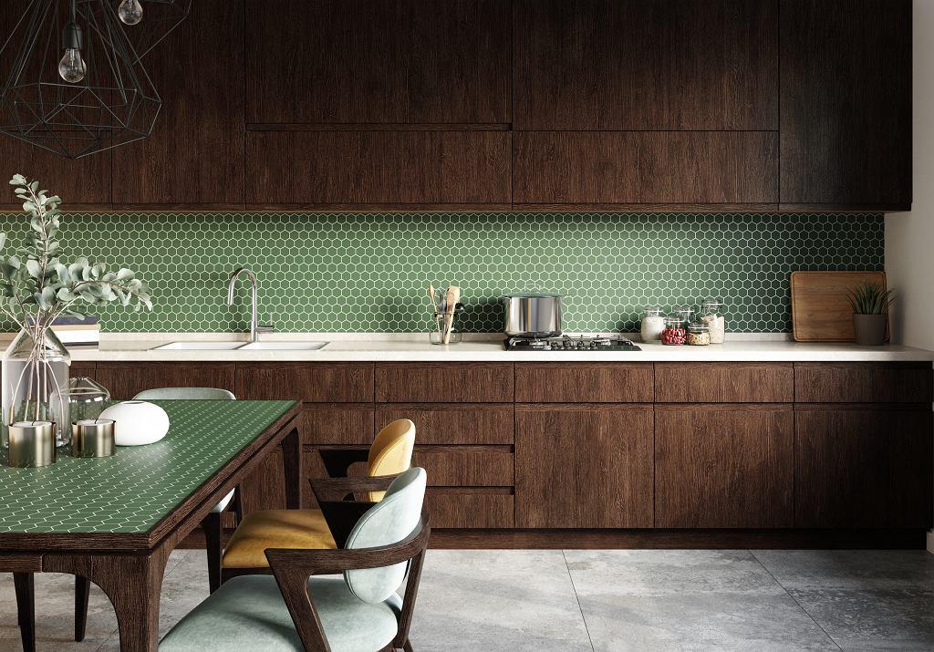 Płytki heksagonalne w kuchni.