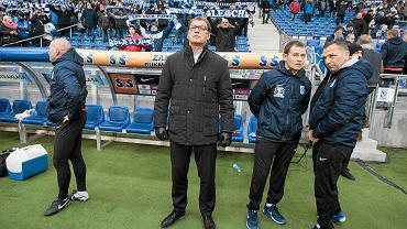 Lech Poznań - Jagiellonia Białystok 0:2. Trenerzy Jan Urban i Kibu Vicuna (w środku)