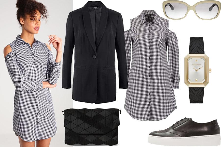 Stylizacja z krótką sukienką cold shoulder / Kolaż / Materiały partnera
