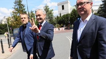 Konferencja prasowa w Warszawie w sprawie koalicji lewicy na wybory parlamentarne
