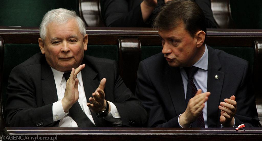 Jarosław Kaczyński i Mariusz Błaszczak w 2014 r.