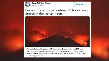 Pożar w kurorcie Lutraki w Grecji.