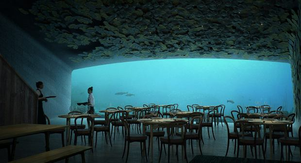 Wizualizacja restauracji Under w Norwegii.