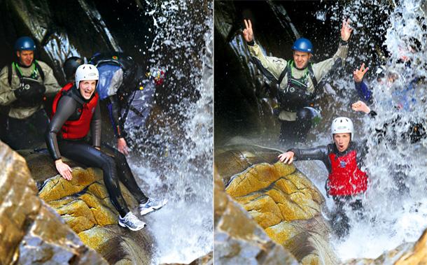 Mój pierwszy raz: kanioning, sport, mój pierwszy raz, Najzimniejszym miejscem na szlaku okazuje się wodospad pod naturalnym łukiem skalnym.