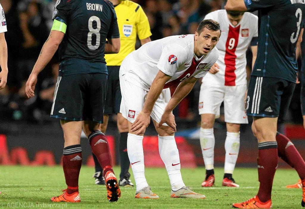 Glasgow: mecz podczas eliminacji Mistrzostw Europy Szkocja - Polska. Tomasz Jodłowiec