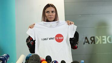 Konferencja prasowa z udziałem białoruskiej sprinterki Krysciny Cimanouskiej dzień po przylocie do Polski