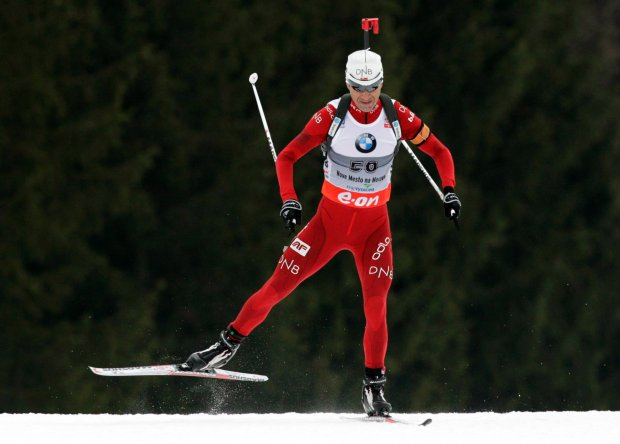 Ole Einar Bjoerndalen of Norway competes in the men's 10 km sprint during the International Biathlon Union (IBU) World Championships in Nove Mesto, in Voss in this file photo from February 9, 2013. REUTERS/David W Cerny/Files  (CZECH REPUBLIC - Tags: SPORT BIATHLON OLYMPICS)