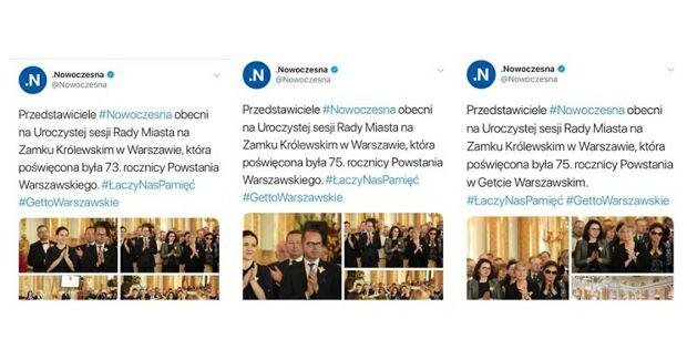 Nowoczesna i jej tweety o rocznicy powstania w getcie warszawskim